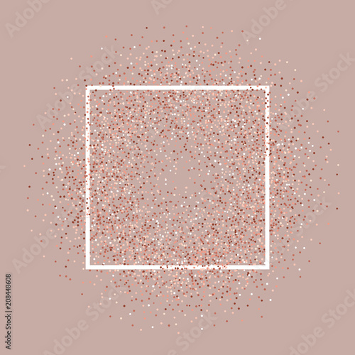 Rose Gold Glitter Background With White Frame Stock Image And