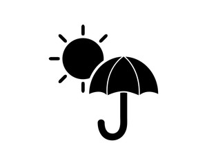 umbrella sun icon glyph illustration design