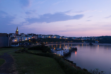 Welsh city of Tenby after sunset, UK