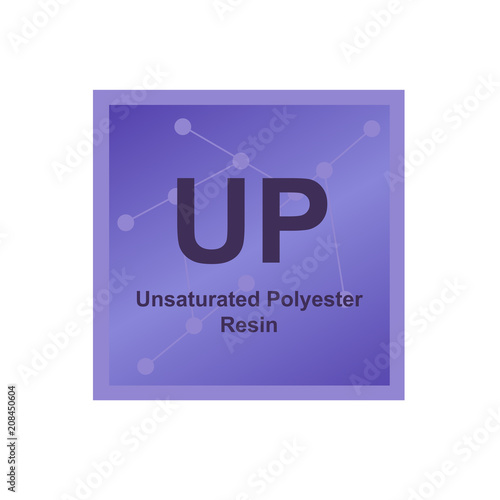 Vector symbol of Unsaturated Polyester Resin (UP) polymer on