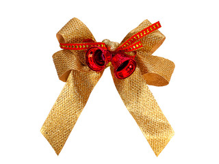 Gold bow, holiday, Christmas.(clipping path)