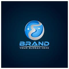 Letter E  on blue background. Logo Design Template. 3D logo design