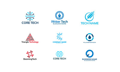 Set of Technology logo designs vector, Network logo designs