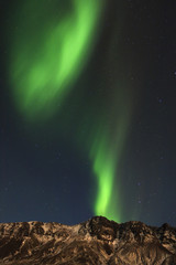 Northern lights in Iceland. / Aurora Borealis in amazing beautiful landscape of south Iceland