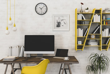 interior design for working area with desktop computer top desk,working space,working background ,interior of working room , white brick background.3d rendering