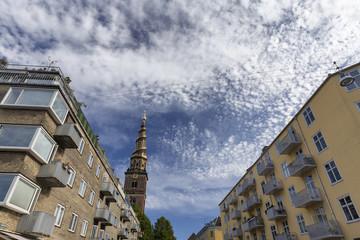 Apartments near the spire of the Church of our Savior in Copenhagen, Denmark.