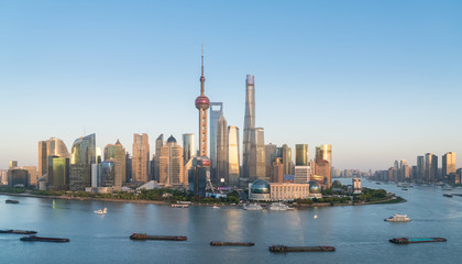 Wall Mural - shanghai skyline in the setting sun after glow