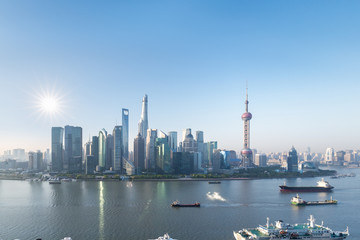 Wall Mural - shanghai pudong skyline in morning
