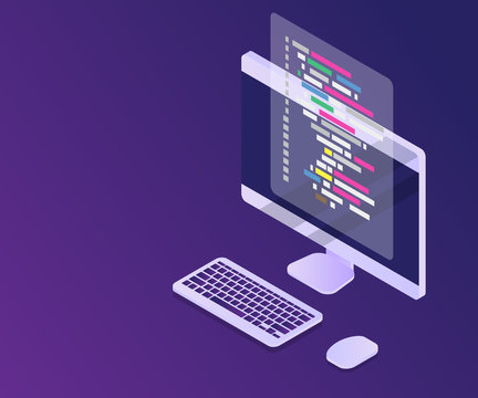 software programming coding concept, code with computer mornitor