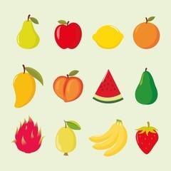 Set of cartoon fruits illustration vector in beige background