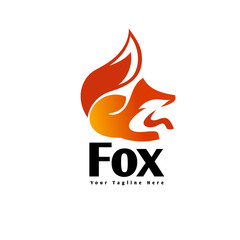 elegant Sitting fox extracted for look logo