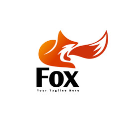 elegant Sitting fox extracted with tail on front logo