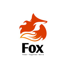 circle sleeping fox fire logo