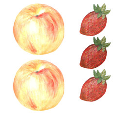 акварели клубника и яблоко