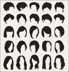 Set of vector hairstyle templates on white background