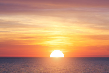 Poster de jardin Mer coucher du soleil Big sun and sea sunset