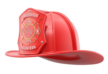 Volunteer firefighter helmet isolated on white background