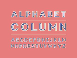 Column color font. Vector alphabet