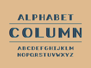 Column volume font. Vector alphabet