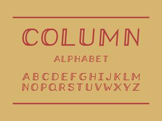 Column cursive font. Vector alphabet