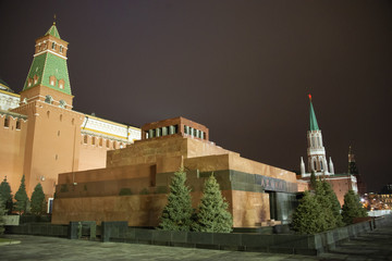 Red Square, Moscow, Russia, -  March 4, 2017/ View to Lenin's Mausoleum at Red Square of Moscow - evening.