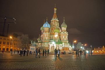 Red Square, Moscow, Russia, - on March 4, 2017/view of St. Basil's Cathedral - in the evening