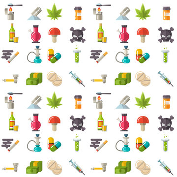Medical drugs icon seamless pattern background vector laboratory science alcohol clinic medication web ambulance sign chemical addiction illustration.