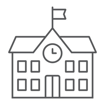 School building thin line icon, school and education, architecture sign vector graphics, a linear pattern on a white background, eps 10.