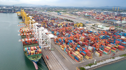 Landscape from bird eye view for Laem chabang logistic portLandscape from bird eye view for Laem chabang logistic port Fotomurales