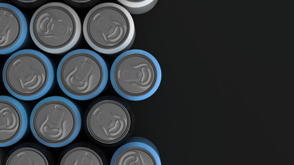 Big black, white and blue soda cans on black background