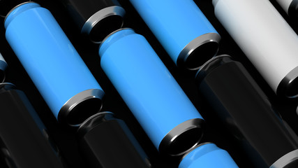 Raws of black, white and blue soda cans