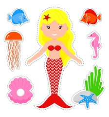 Set of cute mermaid and marine life. Cartoon mermaid on a white background. Vector illustration.