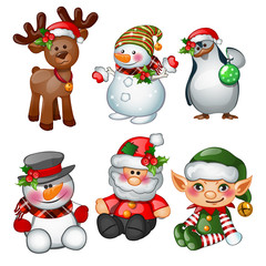 Santa Claus, reindeer, snowman, penguin, Santas helper and apprentice. Sketch for greeting card, festive poster or party invitations.The attributes of Christmas and New year. Vector illustration.