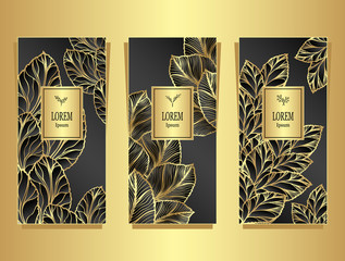 Set Template for package or flyer from Luxury background made by foil leaves in black gold for cosmetic or perfume or for package of tea or for alcohol label or for brand book