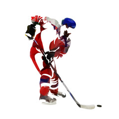 Polygonal ice hockey player with puck, side view. Low poly isolated vector illustration