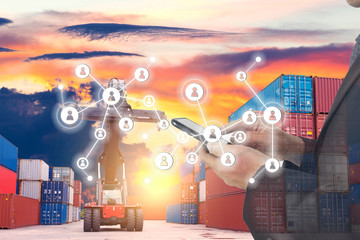 Multiple of Logistics industry with people concept.