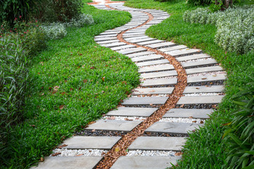 Patterned stone walkway in the park.