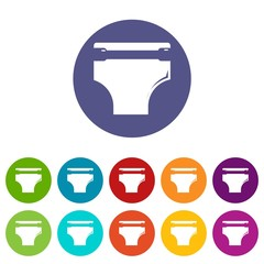 Diaper icons color set vector for any web design on white background