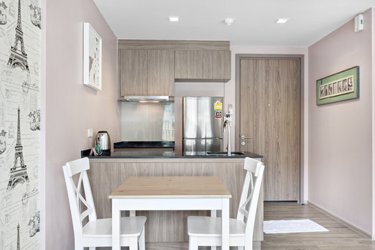 Kitchen and dining table in the condominium