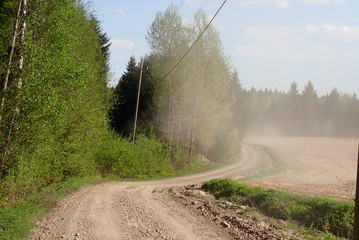 Dusty colors of spring road