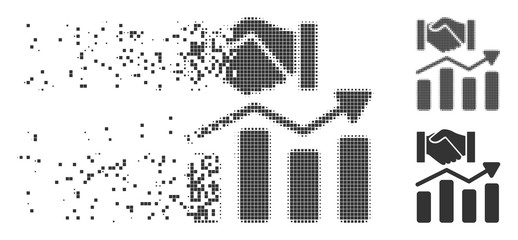 Dissolved acquisition hands graph trend pixel icon with disintegration effect. Halftone dotted and undamaged whole grey variants. Dots have rectangle shape.