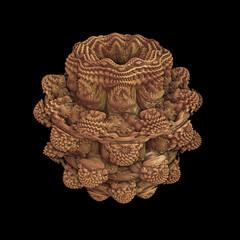 An orange abstract fractal object simulating an alien fruit. 3d Render