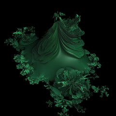 An abstract green fractal object. 3d Render