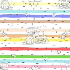 Cute hand drawn seamless pattern with cartoon trains