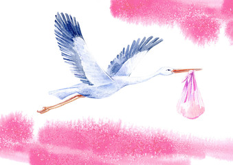 Stork with baby girl and sky.Newborn picture. Watercolor hand drawn illustration.White background.