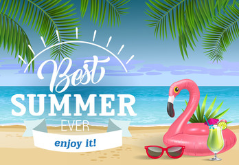 Best summer ever lettering with sea beach and swimming ring. Sale advertising design. Handwritten and typed text, calligraphy. For leaflets, brochures, invitations, posters or banners.