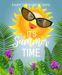 It is summer time lettering with smiling sun in sunglasses. Summer offer design. Handwritten and typed text, calligraphy. For leaflets, brochures, invitations, posters or banners.