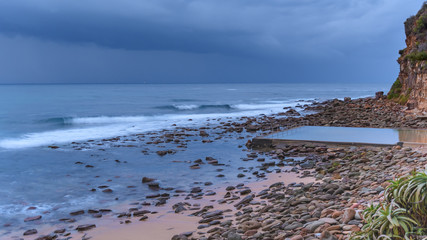 Overcast Dawn Seascape with Sea Pool