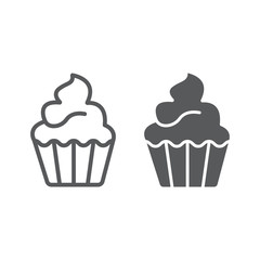 Cupcake line and glyph icon, sweet and tasty, dessert sign vector graphics, a linear pattern on a white background, eps 10.