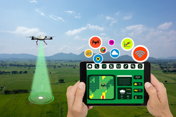 Wall Mural - iot, smart agriculture in the futuristic concept, the farmer use drone and tablet with augmented mixed virtual reality to monitor, analysis, keep track, including ph, soil measure, rain prediction